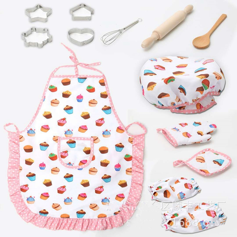 Kids Chef Apron And Hat Set Children Kichen Cooking Baking Cooks Kitchenware Play Game Cake Apron 13Pcs Set YLM1098