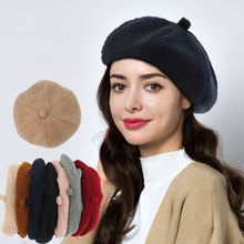 100% Pure Wool Fashion Beret Hat Women Felt British Style Girls Lady Solid Color Slouchy Winter Hats Female
