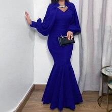 Синий Вечернее Вечеринка Платье Женщины Сексуальный Плиссированный Русалка Длинный Халат Femme Африканский Плюс Размер 3XL Красный Зеленый Элегантный Свадьба Формальный Платье