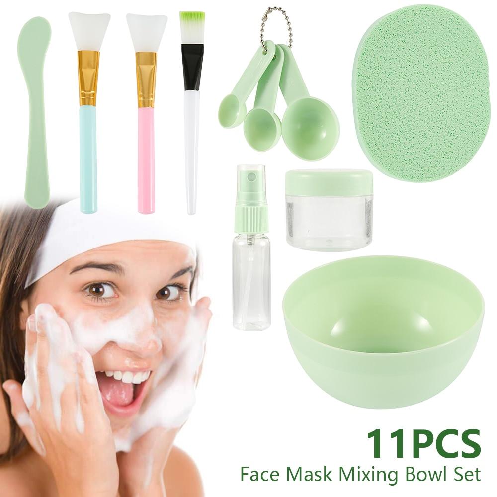 Face Mask Mixing Bowl Set  DIY Facial Beauty Cosmetic Makeup Tool With Brush Mixed Stir Spatula Stick Measuring Spoon Kit