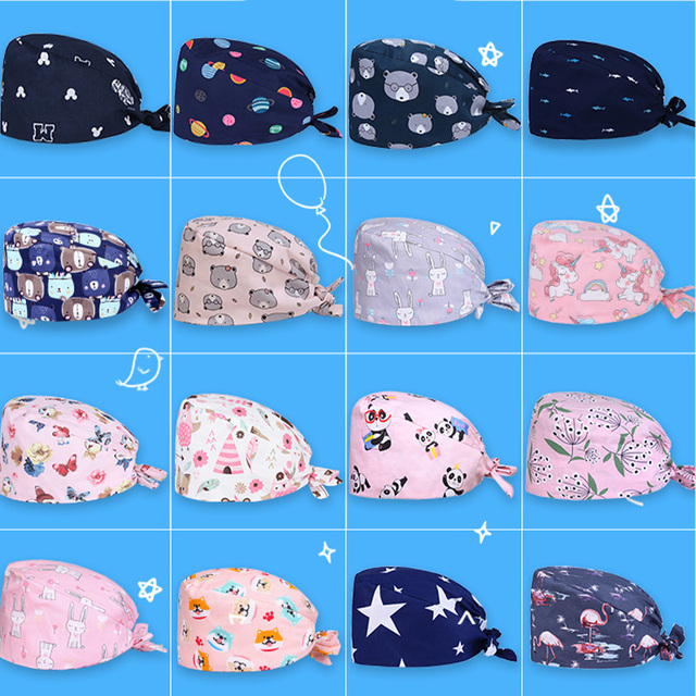 Women Men Printing Bouffant Caps with Sweatband Unisex Reuseable Cooking Hats