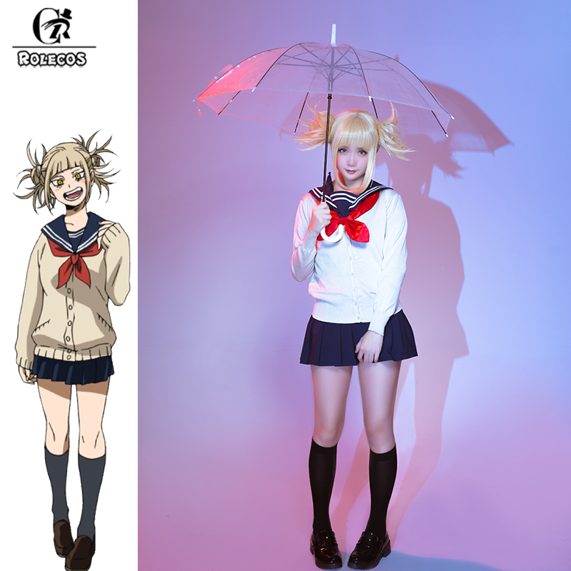 ROLECOS My Hero Academia Anime Cosplay Costume Himiko Toga Cosplay Boku No Hero Academia Costume For Women Uniform Full Sets
