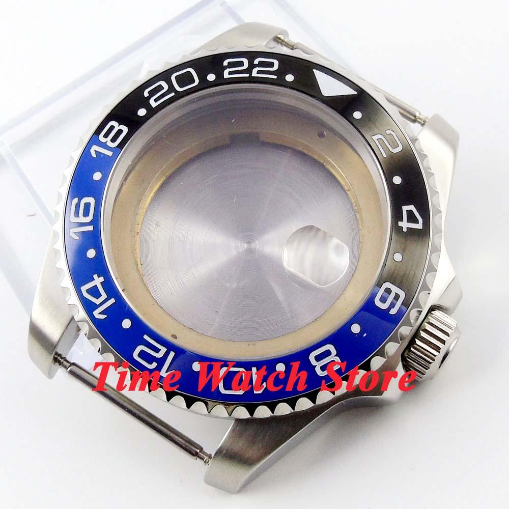 Relógio de Vidro Case Safira Preto Azul Cerâmica Moldura Aço Inoxidável Ajuste Miyota 8215 Eta 2836 dg 3804 Movimento 50 43mm Sub