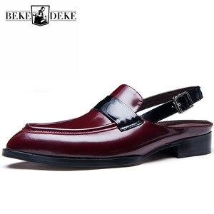 Мужские сандалии с закрытым носком, брендовые модельные туфли из натуральной кожи с острым носком, дизайнерские дышащие босоножки с пряжко...
