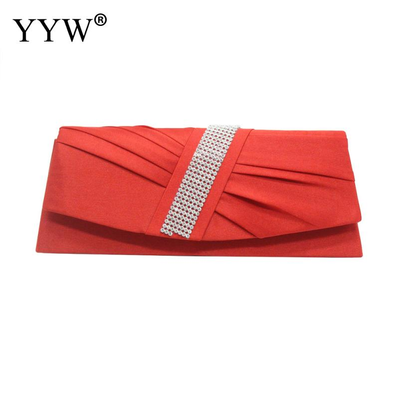 Apricot Womens Satin Pleated Rhinestone Evening Clutch Bag With Chain Feminine Knotted Pleat
