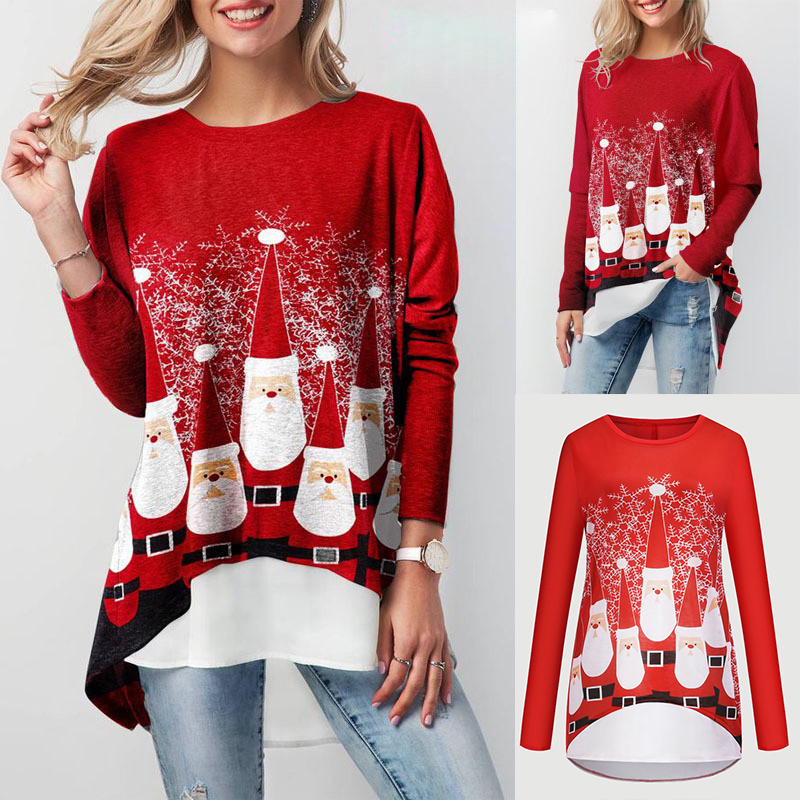 Womens Christmas Round Neck Long Sleeve Top Printed Deer Blouse