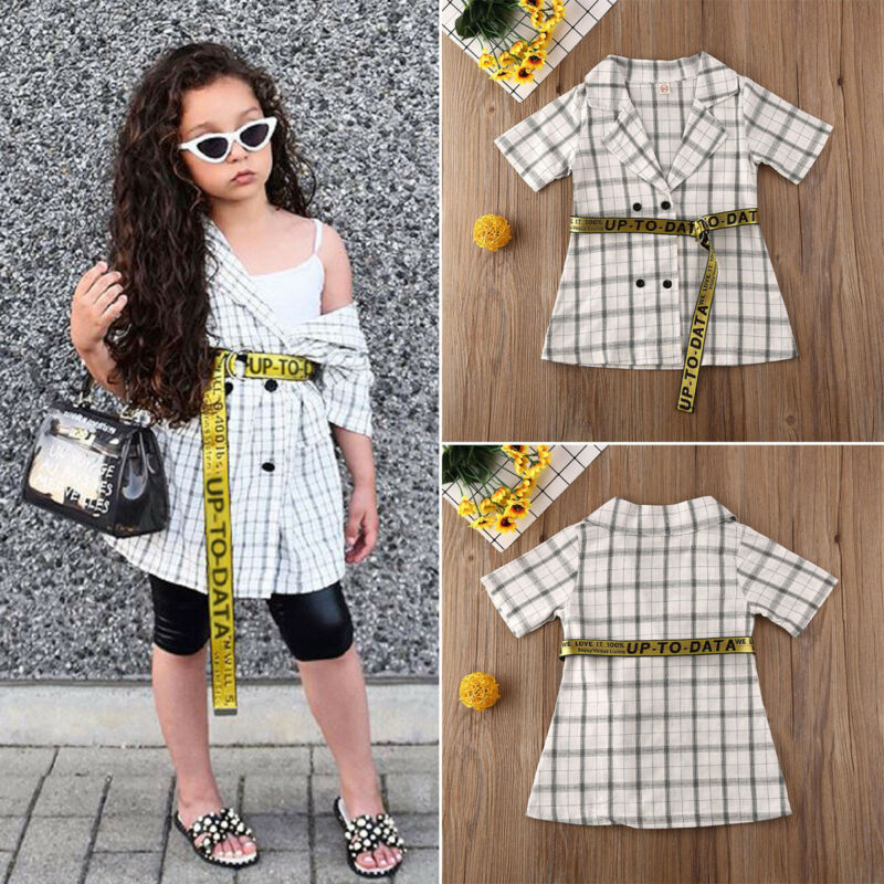 Fashion Toddler Baby <font><b>Girl</b></font> Bandage Clothes Plaids <font><b>Dresses</b></font> Checks Top <font><b>T</b></font>-<font><b>shirt</b></font> Plaid <font><b>Shirt</b></font> <font><b>Dress</b></font> image