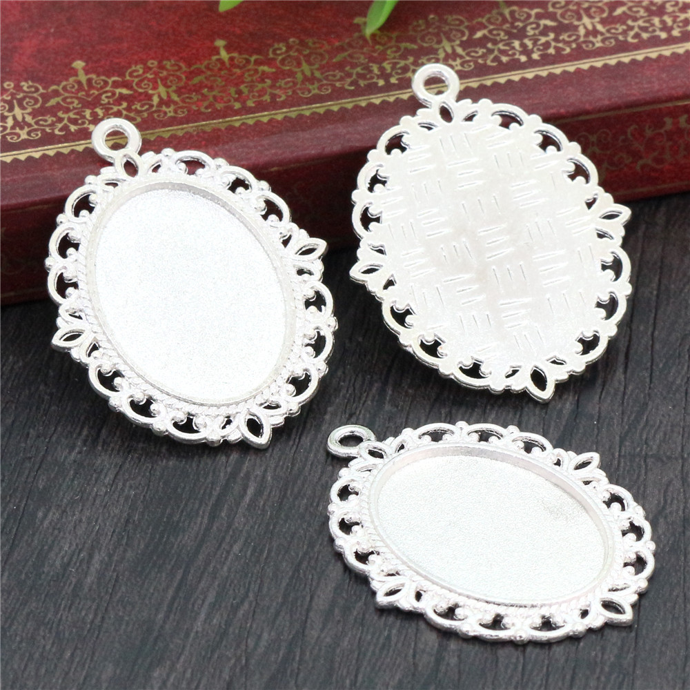10pcs 18x25mm Inner Size Silver Plated Classic Style Cameo Cabochon Base Setting Charms Pendant Necklace Findings  (C1-29)