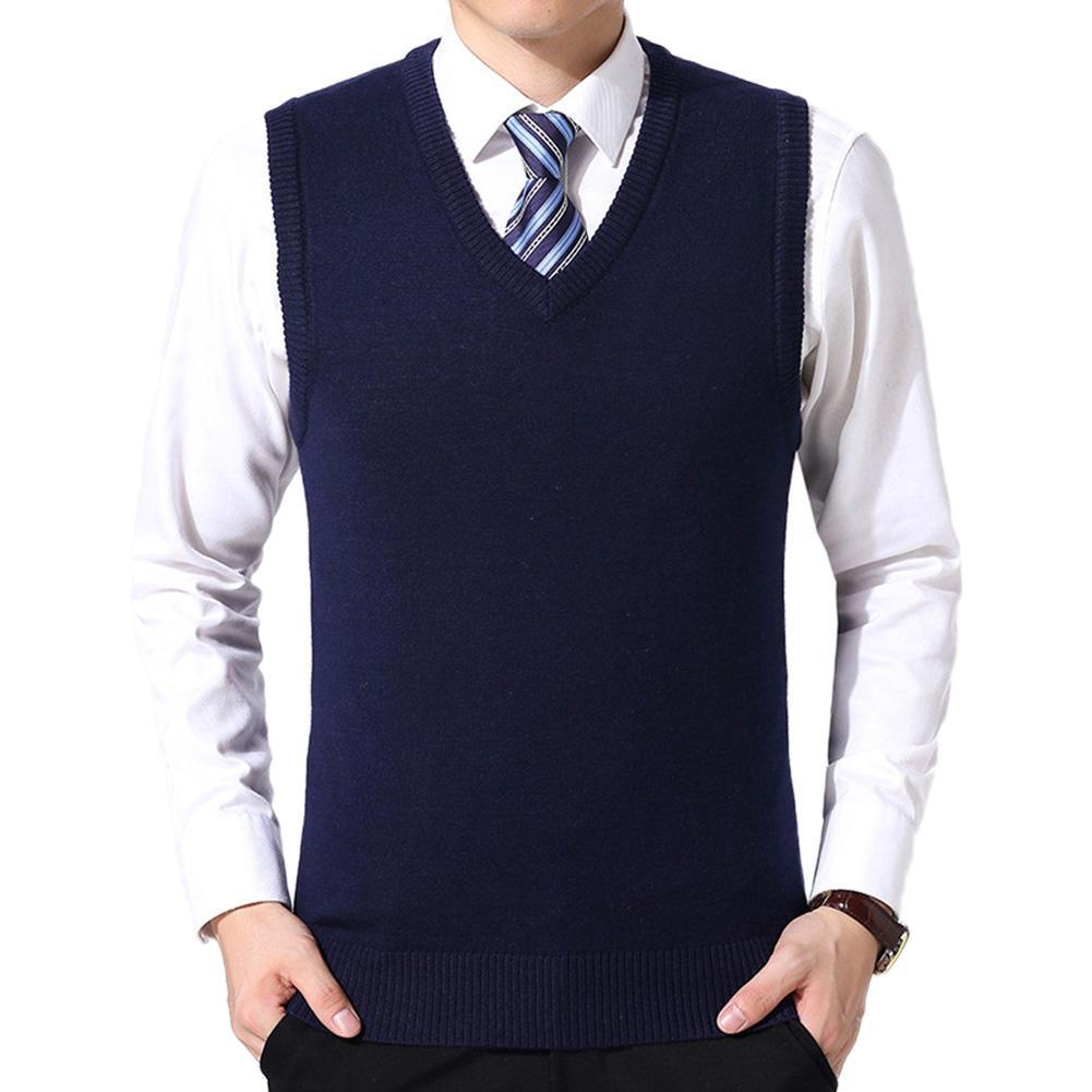 Sweaters Vest Men Casual Winter Solid Color V Neck Sleeveless Knitted Woolen Plus Size Vest