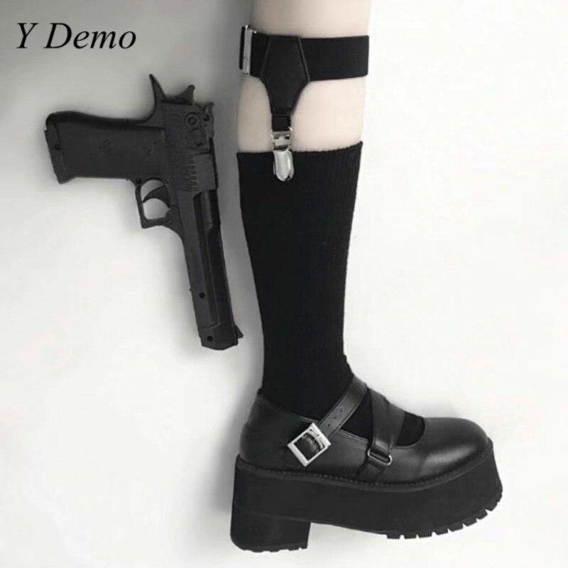 Rock Streetwear Women Punk Garter Sock Black Buckle Suspenders Socks Female Accessory
