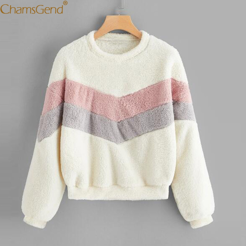 4color Fashion Women Patchwork Fleece Sweatshirt Autumn Winter Warm Soft Fluffy Hoodies Coat Long Sleeve Sweatshirts 908