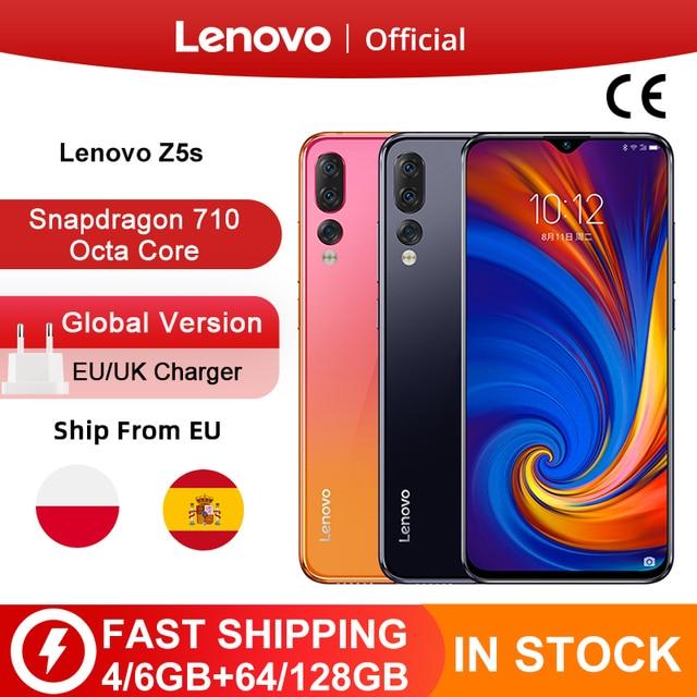 Küresel sürüm Lenovo Z5s Z5 S Smartphone Snapdragon 710 Octa çekirdek yüz kimliği 6.3 inç Android P üçlü arka kamera akıllı telefon