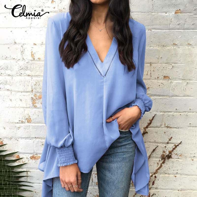 S-5XL Celmia Chiffon Blouses Women Sexy V-Neck Irregular Shirts Long Sleeve Hollow Stitching Tops Casual Ladies Blusas Femininas