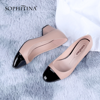 SOPHITINA Office Women Pumps Mature Round Toe Square Heel Med High Quality Sheepskin Handmade Shoes Slip-On Shallow Pumps C647