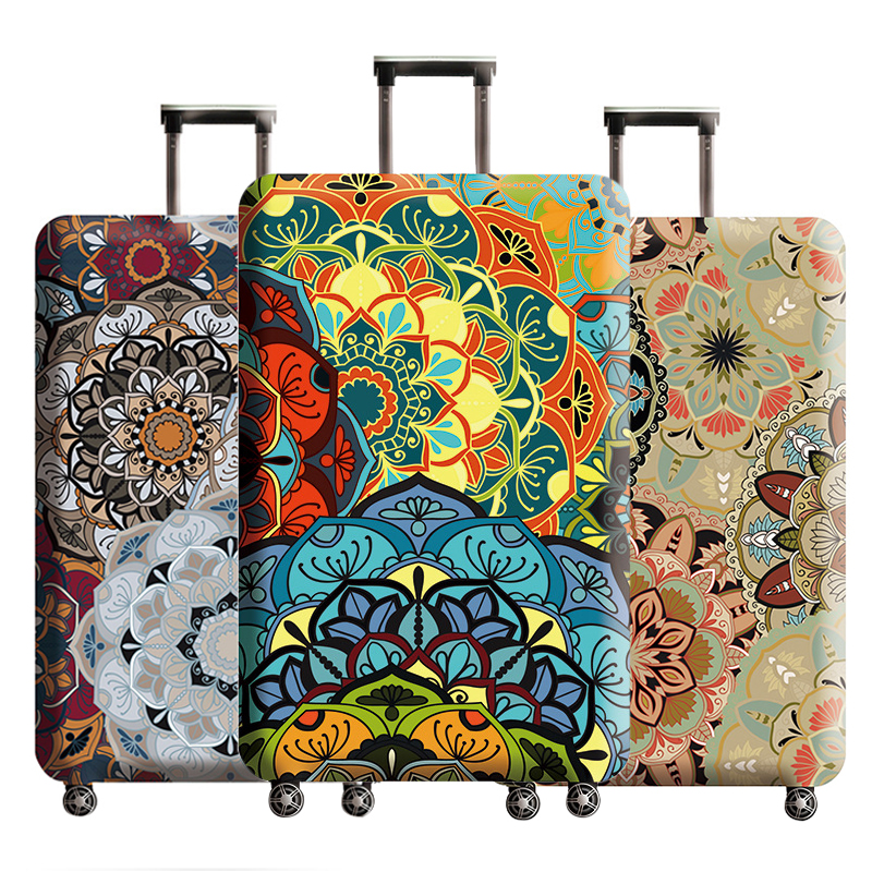 Travel Elastic Flower Print Suitcase Protective Cover Thicken Protection Organizer Waterproof Dust Trolley Case Accessories