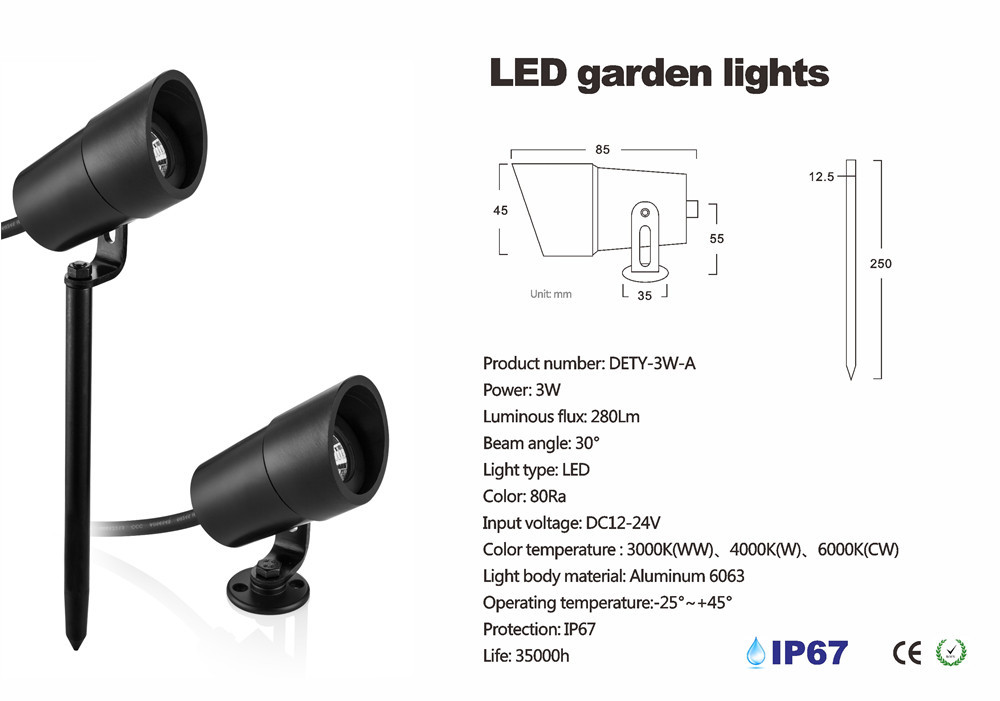 3W Led Lawn Lamp Aluminum Led Garden Light, led Grass lighting IP67, DC12V LED Patent Design (3)_