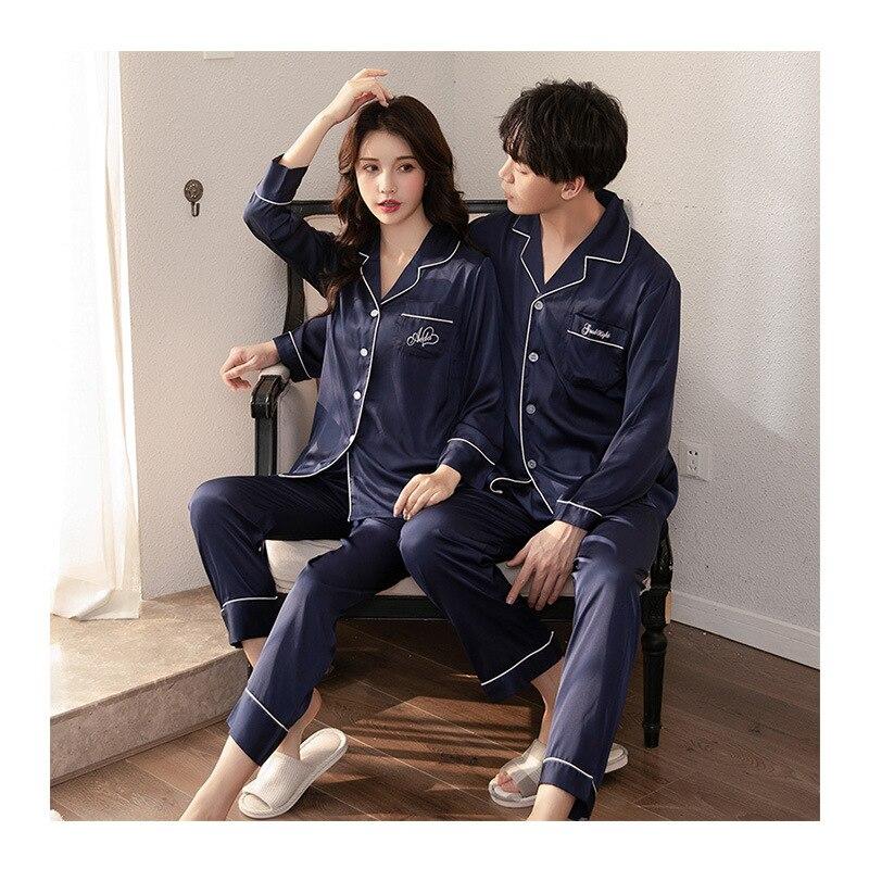 FZSLCYIYI Crane Pajama Suit Satin Pajamas Sets Couple Sleepwear Family Pijama Lover Night Suit Men & Women Pyjamas Robe & Gown