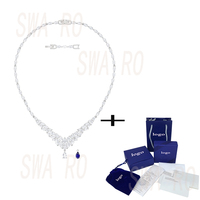 2019 New Classic Delicate Winter Frosted Leaves Louison White Gold Crystal Necklace Blue White Charm Can Remove Luxury Jewelry