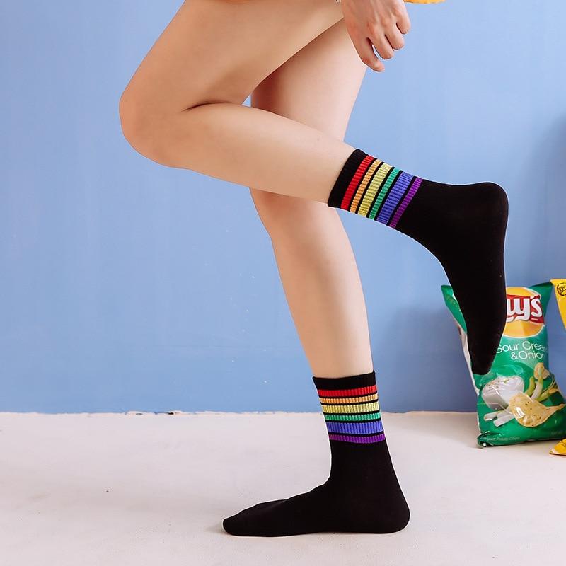 1 Pair Women's Sock Cotton Rainbow Stripes Funny Socks Christmas Casual Socks Women harajuku korean Christmas Gift