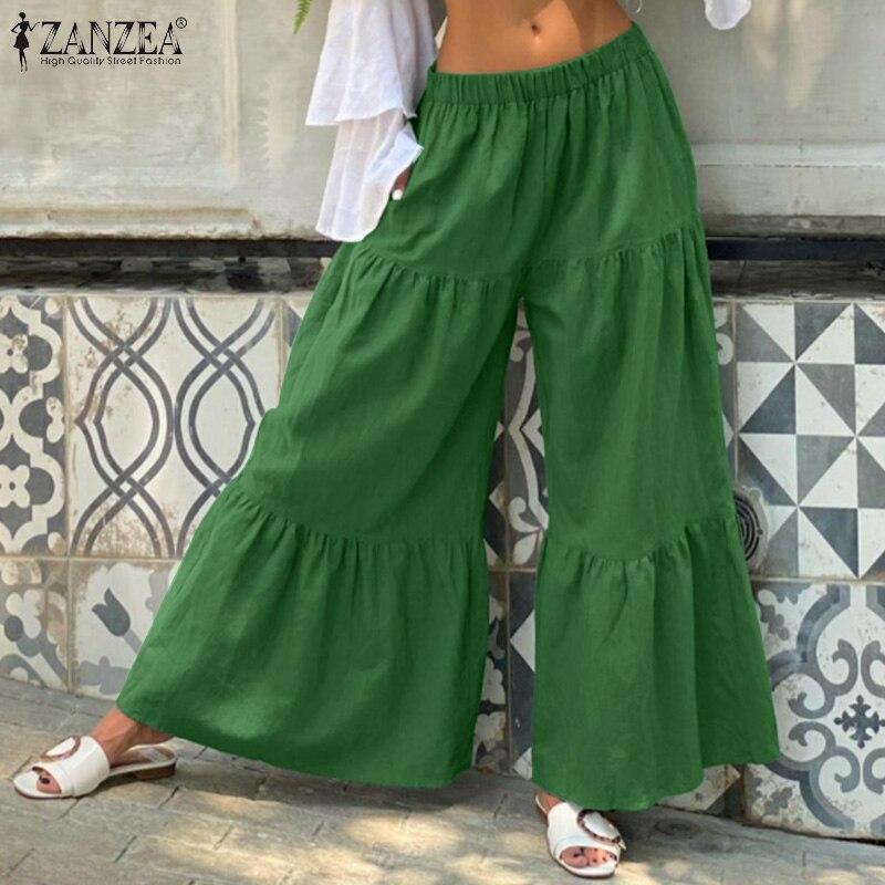 Женские хлопковые льняные панталоны, новинка 2021, модные широкие брюки, женские однотонные длинные брюки с оборками, повседневные эластичны...