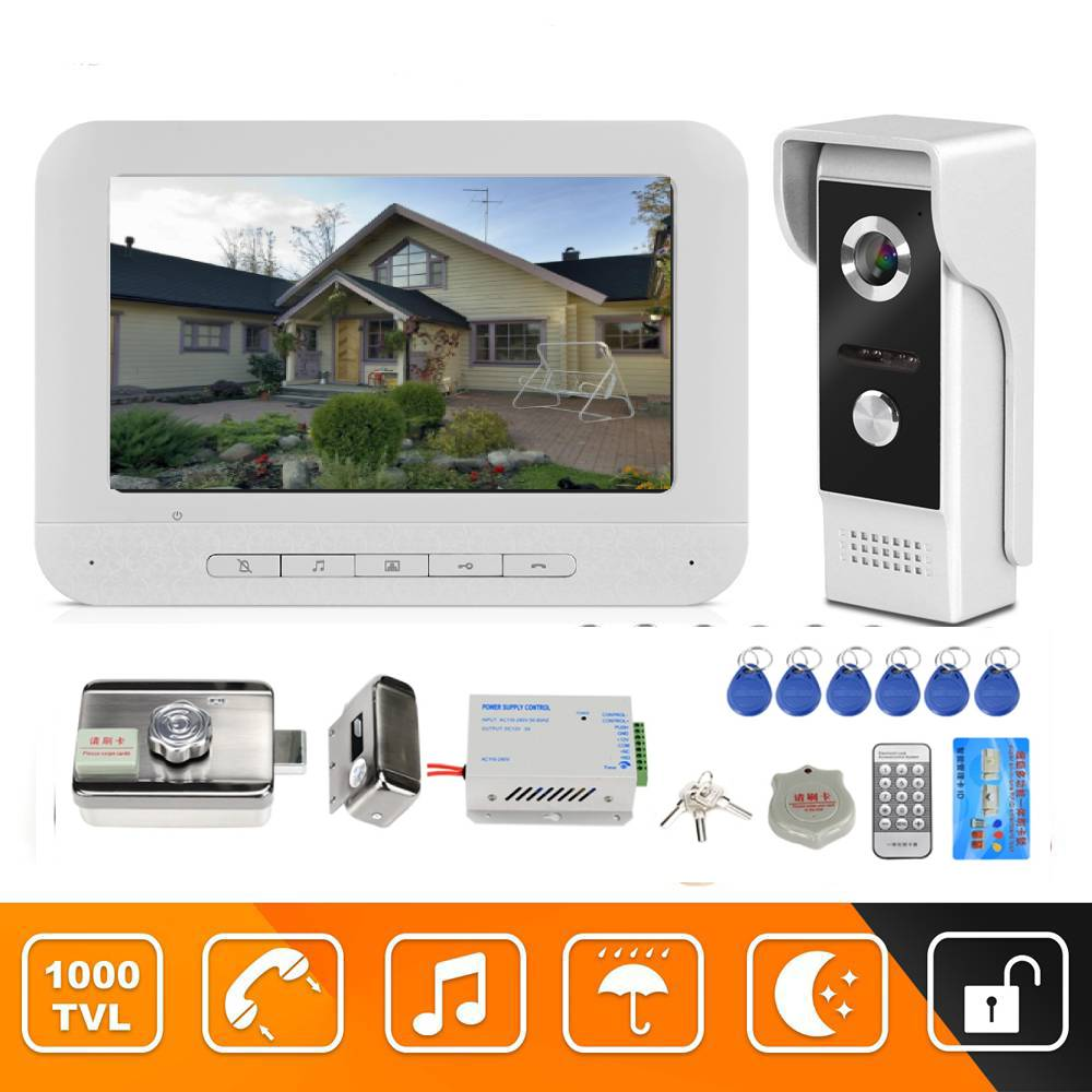 Video door phone 7 inch doorbell camera wired video intercom doorbell Home Security system