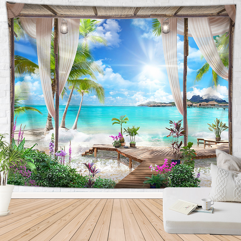 Relaxing Vacation Style Tapestry Scenes