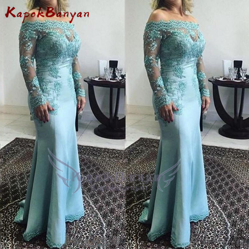 2019 Mermaid Appliques Off Shoulder Long Sleeves Satin Lace Formal Evening Party Gown