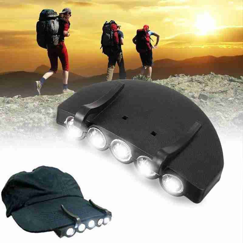 Super Bright 5LED Fishing Cap Lamp Head Hat Lamp Cap Hat Clip Light Night Fishing Cap Lamp Outdoor Camping Fishing Lighting Tool