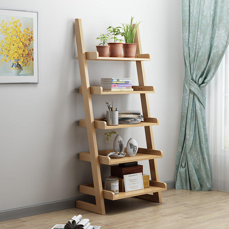 Fu Rong Kang Northern European-Style Solid Wood Floor Storage Shelf Multilayer Partition Bookshelf Living Room Bedroom Storage S