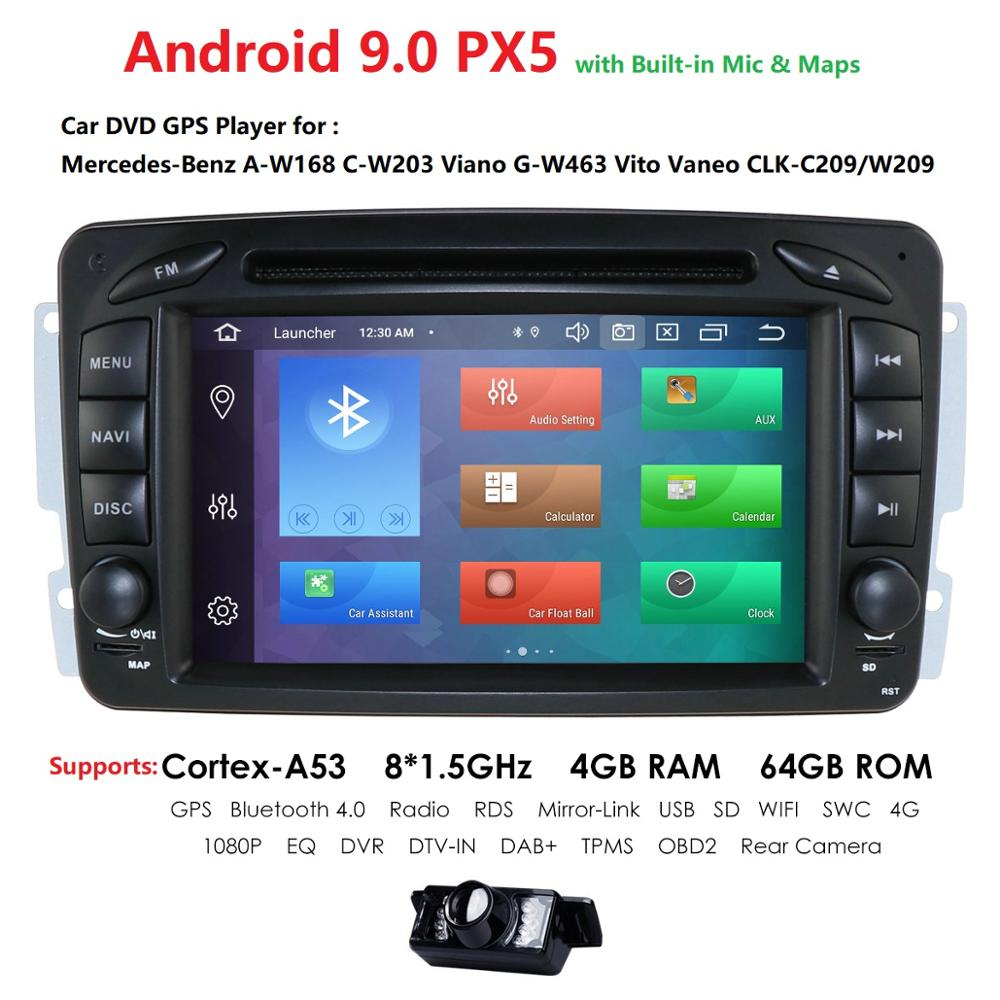 Octa-Core 2din <font><b>Android</b></font> 9.0 Car Stereo Radio For <font><b>Mercedes</b></font> Benz W209 <font><b>W203</b></font> W168 W463 VianoVito Vaneo <font><b>GPS</b></font> DVD Player BT+Camera+Map image