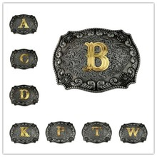 Golden Letters Belt Buckles for Men Metal Western Buckle Head with Leather As Birthday Gifts Drop Shipping
