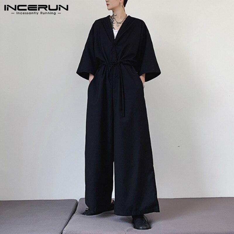 INCERUN Men Jumpsuit Fashion Solid Casual Punk V Neck Half Sleeve Overalls Men Wide Leg Pants Streetwear Baggy Romper S-5XL 2020