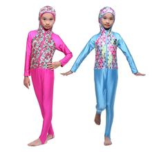 Child Girls Muslim Islamic 2-Pieces Swimwear Arab Swimsuit Beachwear