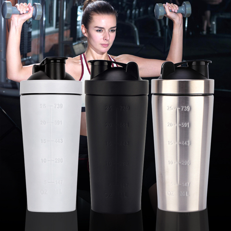 Yooap New 25oz single layer 304 stainless steel shake cup fitness protein powder mixing shaker non-insulation cup image