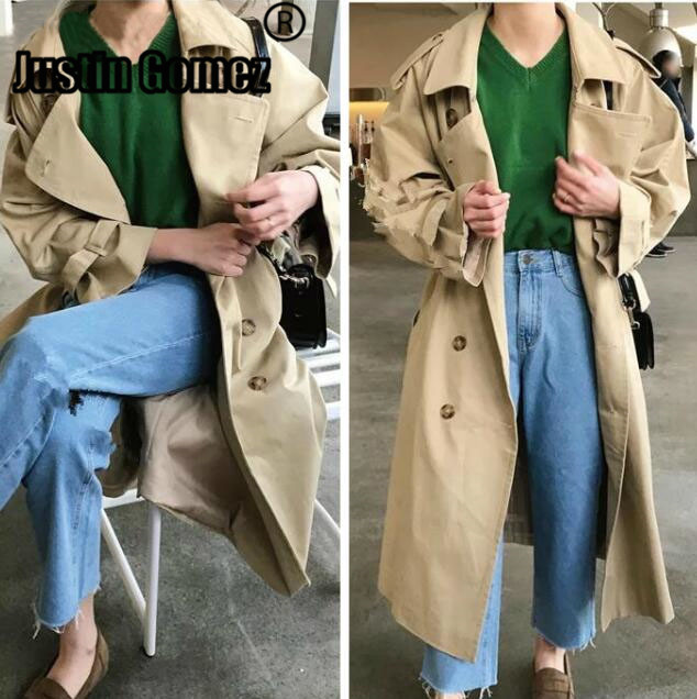 Brand famous British Styel Casuial loose oversized   trench   coats PLUS SIZE runway maxi coats windbreaker
