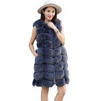 Real fur vest women winter natural fox fur vest real fox fur vest Winter coat Winter jackets customizable Long coat