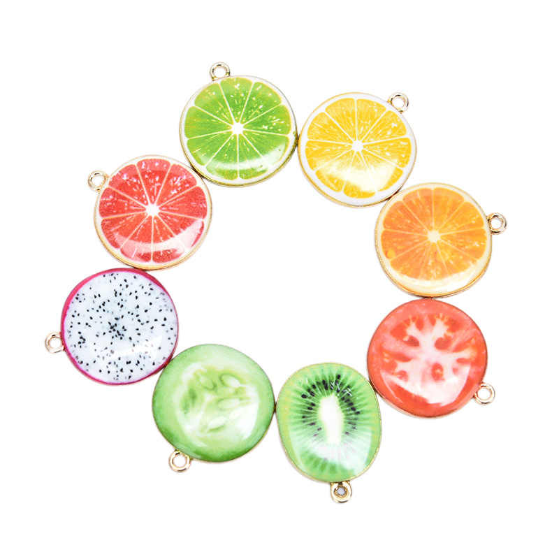Hot 10PCS Frutta Pendenti e Ciondoli Apple Pomodoro Limone Drago di Frutta Kiwi Pendenti con gemme e perle Dello Smalto Goccia di Olio Pendenti e Ciondoli Monili Che Fanno Arredamento Accessori