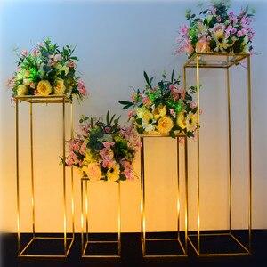 Блестящая золотая Геометрическая коробка ремесла реквизит для подставка для свадебного торта стол центральные цветочные стойки фон Дорог...