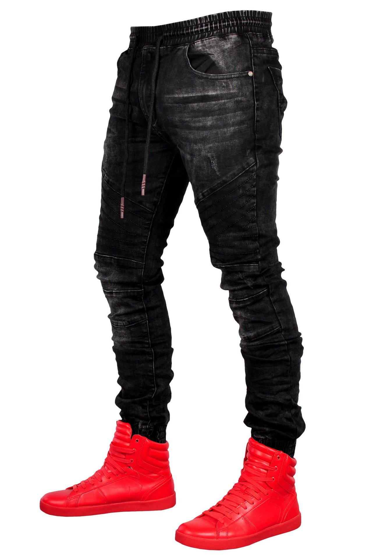 Men's Black Jeans Jogging Tightness Waist Cowboy Trousers Slim Fit Denim Joggers Stretch Male Jean Fashion Casual Trousers