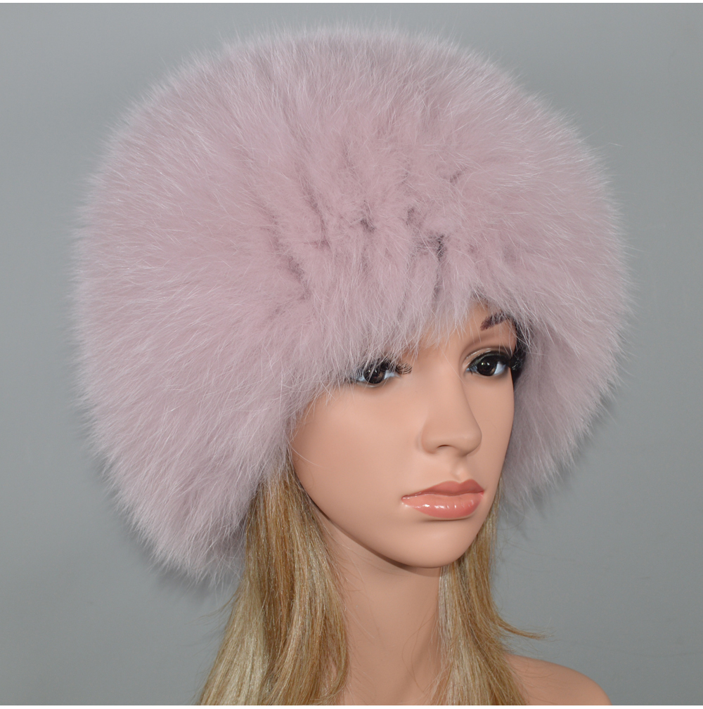 H390f692008e34df0acd409d888780eabX - New Luxury 100% Natural Real Fox Fur Hat Women Winter Knitted Real Fox Fur Bomber Cap Girls Warm Soft Fox Fur Beanies Hats