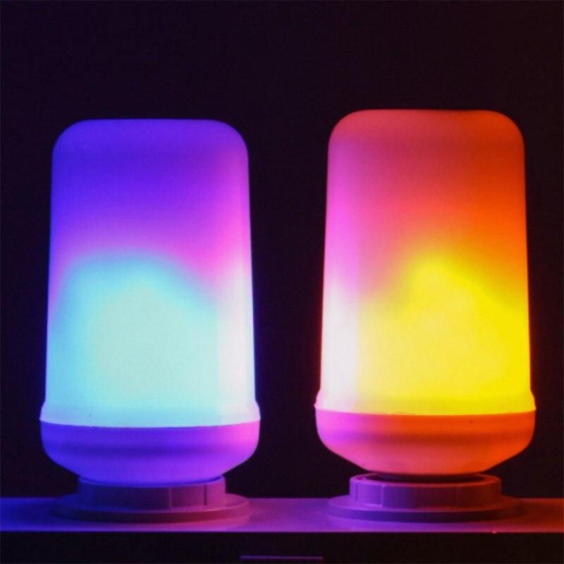 App inteligente led efeito de chama lâmpada 4 modos com efeito de cabeça para baixo 2 pacote e26 bases decoração festa - 4