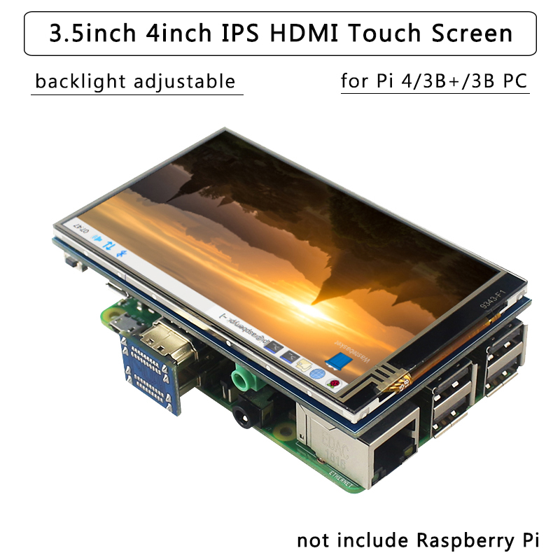 4 Inch 3.5 Inch Raspberry Pi 4 Touch Screen 800x480 IPS Backlight Adjust LCD Display Wih Audio For Raspberry Pi 4B/3B+/3B PC