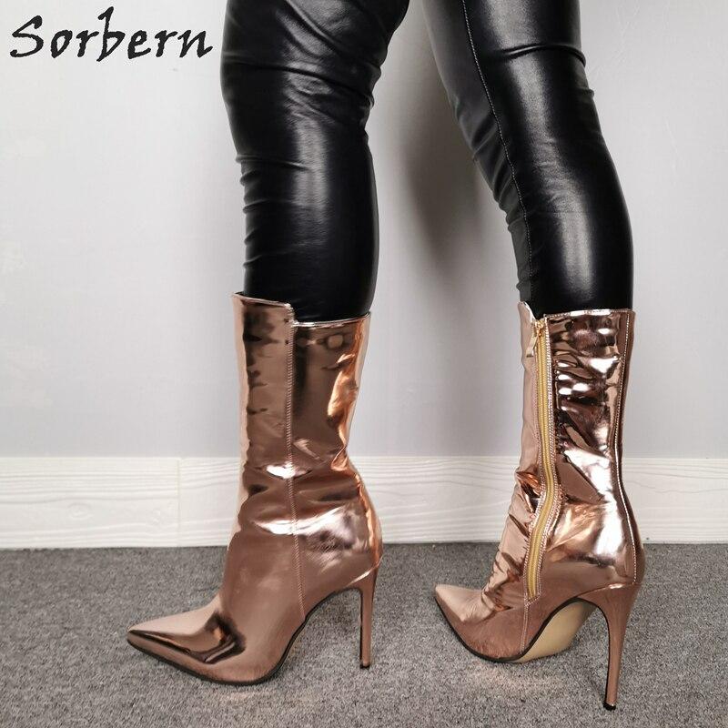 Sorbern Rose Gold Enkellaars Voor Dames Laarzen Hakken Custom Breed Enkel En Kleuren Bling Laarzen Metallic Size 11 Vrouwen schoenen - 3