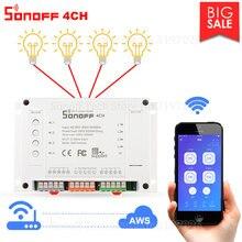 Itead Sonoff 4CH/4CH R3 Wifi חכם מתג 4 כנופיית Wifi אור מתג חכם בית App מרחוק ממסר עובד עם Alexa Google בית