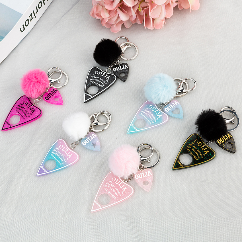 1PC Women Keychain Ouija Planchette Rresin Charms Handbag  Keyring With Puffer Ball Ouija Board Keyring