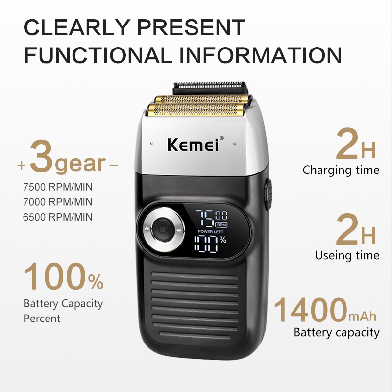 Kemei Rechargeable Electric Shaver LCD Display Portable Waterproof Reciprocating Cordless Men Reciprocating Razor Beard Trimmer 3