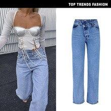 Female Summer Irregular High Waist Denim Straight Jeans Wome