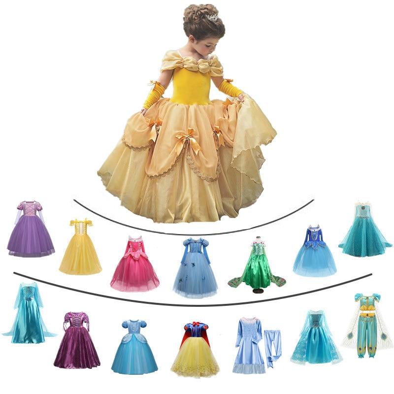 Fancy Girl Princess Dresses Sleeping Beauty Jasmine Rapunzel Belle Ariel Cosplay Costume Elsa Anna Sofia Children Innrech Market.com