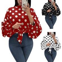 Blusas elegantes de lunares para mujer blusas de oficina de manga larga con cuello redondo