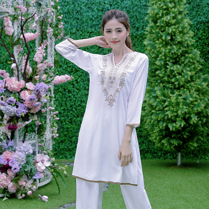 Indian Dress For Women Ethnic Blouses Meditation Clothes Indio Costume Cotton Silk Embroidery Top Long Sleeves Kurta Kurti India